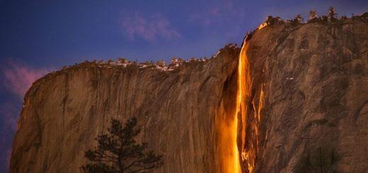 В США в штате Калифорния есть огненный водопад